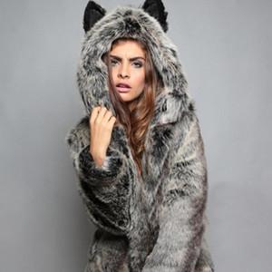 LEOSOXS Hooded Coats Women Faux Fur Female Autumn Winter Thick Flocking Full Sleeve Fashion Clothing England Style Wild
