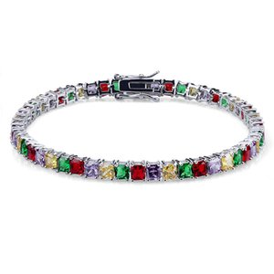 Jewelry Diamond Tennis Bracelet Iced Out Chains Micro Pave CZ Mens Bracelets Colorful Luxury Designer Bangles Women Gifts Fashion