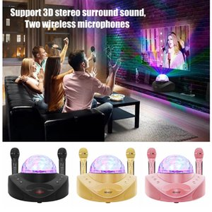 SDRD 308 Wireless Microphone Bluetooth Speaker Mobile Karaoke Stereo Black 20W Playing Music With Bracket for Phone Tablet PC