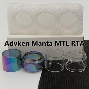 Advken Manta MTL RTA Normal 2ml Bulbo Tubo 3ML Limpar Arco-íris Substituição Tubo De Vidro Estendido Bubble Fatboy 3 Pcs / Caixa Retail Pacote