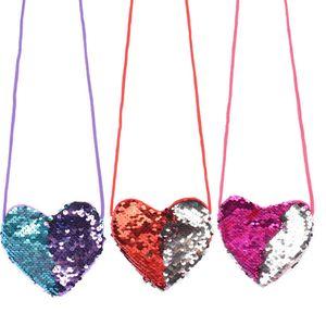 Sequins Heart Designer Handbags 6 Colors Kids Loving Shoulder Coin Bag Baby Girls Mini Messenger Bag Cartoon Coin Purse Party Favor AHA2485