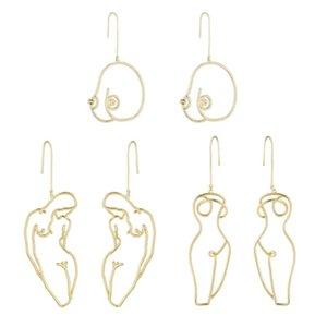 Bangle 3 pares artsy abstrato senhora declaração de mama aro brincos kit oco fio esboço feminino corpo boob jóias