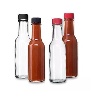 5oz Woozy Round Glass Sauce Tomata Glass Bottles Clear Glass Woozy Bottles with Dripper Inserts 150ml Case of 12pcs with Screw Caps BWC1757
