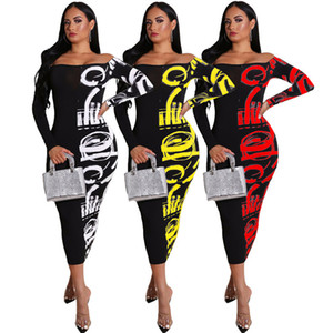 Womens Designer Floral Dresses Sexy Slim Long Sleeve Crew Neck Bodycon Dress Plus Size Female Clothing Casual Apparel