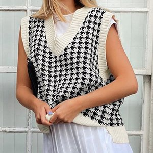 Laamei Houndstooth Knit Oversized Sweater Vest Female England Preppy Style Y2k Jumpers v Neck Casual Loose 90s Knitwear Autumn Y201128