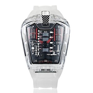 Moda Masculina Tendência Personalidade Classic Quartz Assista Luxo Racing Livre Silicone Strap relógio Transparente Movemen Relogio LJ201212