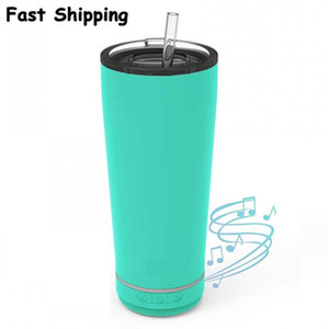 2021 18oz Creative Bluetooth Music Tumbler Waterproof Speaker Double Wall Thermos Stainless Steel Portable Coffee Cup New Year Gifts FY4364