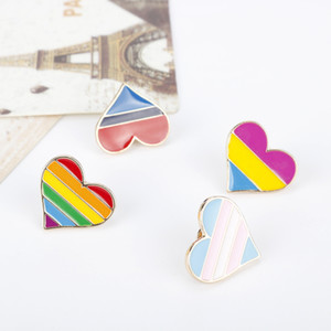 Rainbow Pins Originality Love Heart Shaped Badge Fashion New Alloy Accessories Drop Oil Stripe Brooches 1 5aj K2