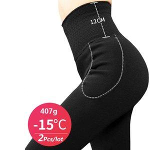 ZJX 2pcs / lot intimo termico intimo inverno pantaloni caldi vita alta dimagrante super spessa outwear in velluto da donna elastici elastico leggings