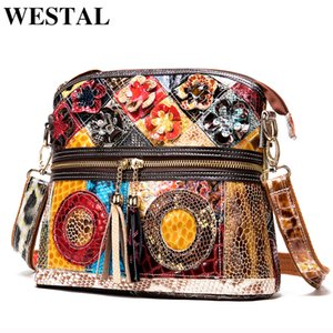 WESTAL patchwork shoulder bags for women bags genuine leather small designer crossbody messenger bags with tassel female bag 733
