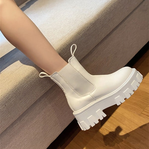 New Chunky Fashion Pocket Platform Female Sole Pouch Ankle Boots Women Botas Mujer 201215