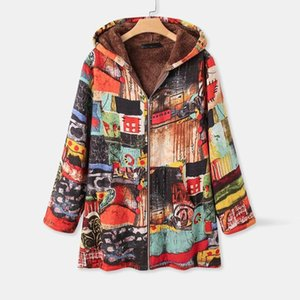Jaycosin Coat Women Fashion Retro Printing Splicing Zipper Plus Size Hoodie Wool Cardigan Winter Long Sleeves Coats Outwear