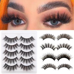 5 Pairs Faux Mink Hair Fake Eyelashes Natural Thick Long 3D False Lashes Wispy Fluffy Eye Lash Makeup Extension Tools Beauty