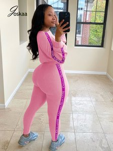 Joskaa Fall and Winter New Women's Letters Printed Ribbed Pattern Casual Sports Sweatsuits Bodycon Casual Suit Two-Piece Set Y1123