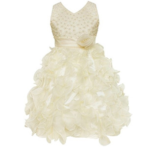 New Girls Party Dresses Beading Bodice Ruffle Wedding Communion Flower Ball Gown Formal Kids Vestido Z1127