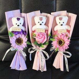 Bear Rose Flower Decoraciones de boda Ramo de regalo de San Valentín Regalo Jabón Flor Fake Flowers 7 Estilo HHB4235 92 J2