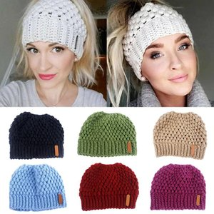 Knit Knit Beanie Tail Hat Winter Hat for Women Adult Bundle Hair Tie XRQ88