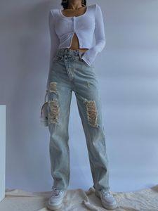 Женские джинсы Европы Супер прохладные уличные ракетки сделали старые дыры неправильной талией нерегулярный папа прямые свободные брюки модный пчел
