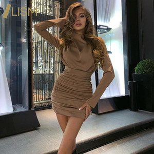 LISM Ruched Dresses Spring Autumn Sexy Party Club Dress Turtleneck Office Lady Women Long Sleeve Solid Bodycon Mini Dresses