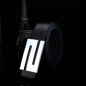 Unisex Fashion Waistband Lock Letters Girdle Smoothing For Men Buckle Casual Imitation Leather Belt