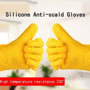 Silicone Anti-scald Gloves Home Oven Microwave Oven Insulation Gloves Non-slip Thicken Five Finger Gloves Free Shipping