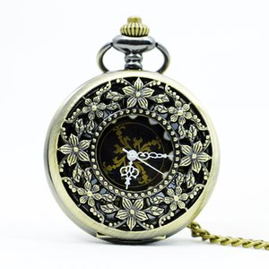 High Quality Classical Vintage Antique Bronze Hollow Out Flowers Mechanical Pocket Watch Necklace Man's Pendant PJX1111