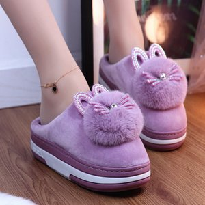 Women Slippers House Winter Shoes Fur Cute Cat Thick Bottomn Warm Plush Indoor Footwear Home Bedroom Ladies Footwear FashionZ1127