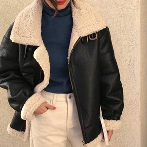 Lucyever Punk Style PU Leather Jacket Womens 2021 Winter Warm Lambswool Stand Coat Female Moto&Biker Loose Coffee Color Overcoat