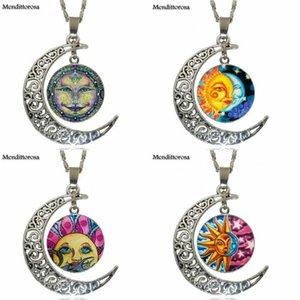 EJ Glasur Vintage Schmuck versilbert mit halbmondförmigen leuchtenden Halskette für Männer Frauen Halbsonne und Mond