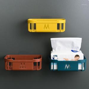 Wall Mounted Shelf Adhesive Tissue Box Napkin Toilet Paper Holder Plastic Garbage Bag Dispenser Kicthen Bathroom Storage Rack1