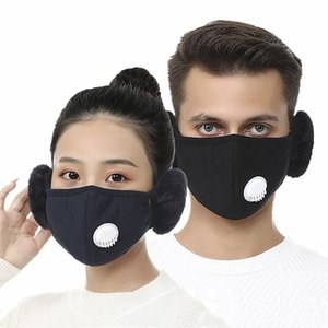 Hot 2 In 1 Face Mask Cover With Plush Ear Protective Mask PM2.5 Thick And Warm Mouth Masks Winter Mouth-Muffle Earflap Outdoor