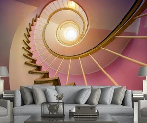 Custom Size Photo Wallpaper 3D Modern Minimalist Pink Fashion Staircase Tunnel 3D TV Background Wall Wallpaper Home Decor