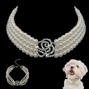 Elegant Crystal Dog Collar Necklace Choker Style Rhinestone Pearl Luxury Pet Dog Accessories Necklaces for Dog Chihuahua