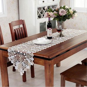 Household Exquisite Fabric Lace Embroidery Table Runner TV Closet Cover Cloth Table Banner Tablecloth Wedding Decor