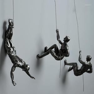 Industriestil Klettern Mann Harz Eisen Draht Wand Hängende Dekoration Skulptur Figuren Kreative Retro Heute Statue Decor1