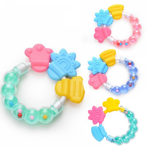 3 Color Baby Teethers Toy Infant Silicone Molar Teething Ring Kid Cute Bell Rattles Gifts Circle Portable Durable 1 7qd G2