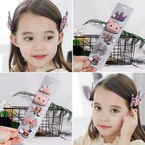 5PCS Set Cartoon Crown Hair Pins Princess Gift Wedding 19 Models Hair Accessories Girls Cute Hairpins Kids Bow Handmade Headwear