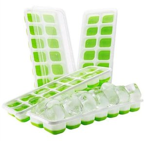 Moules à glaçons en silicone de qualité alimentaire Ice Cube moule avec 14 trous couverts Ice Cube Tray Set de cuisine bleu vert Outils 4 pièces / set BWB3018