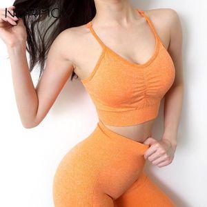 Нормов плюс размер йоги набор бесшовные фитнес костюм сексуальный бюстгальтер бегущий леггинс тренажерный зал Управляет FEMME SPORTSWEAR L-2XL