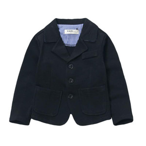 new arrival knitted cotton 100% toddler boy blazer solid Black