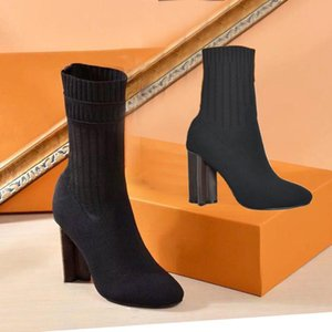 Herbst Winter High Heel Boot Gestrickte Elastische Stiefel Buchstaben Dicke Heels Sexy Frau Schuhe Mode Socken Stiefel Dame High Heels Große Größe 41-42