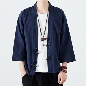 #4334 Vintage Kimono Cardigan Jacket Men Japanese Style Horn Button Linen Windbreaker Men Kimono Coat Cloak Plus Size 5XL Loose