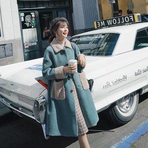 Jane Deiune Winter Women Agnello Cappotto in lana Abbigliamento Moda Chic Krean Style OverCoat Casual Outwear Allentato Giacca in pelliccia in pelliccia doppia