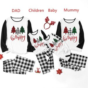 Parent-child Christmas Family Pajamas Sets Women Men Kids Baby Constrast Color Xmas Tree Letters T-shirt Tops and Plaid Pants Suit F120301