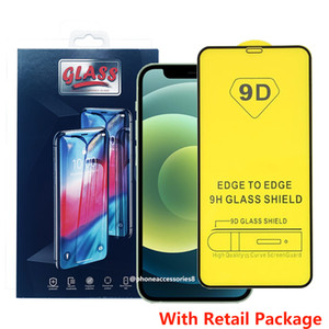 9D Full Glue Cover Tempered Glass Phone Screen Protector For iPhone 12 11 Pro Max iPhone XR X XS Max Samsung A10S A20S A30S A40S A50S A70S