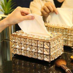 Tissue Boxes Servietten Europäische quadratische Quadratische Kasten Home Bar KTV Tischdekoration Gesichtspapier Hülle Halter Napin Tablett für el