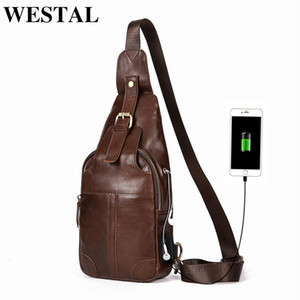 WESTAL Anti Thief Charging Travel Men Men's Sling Bags For Leather Crossbody Bags Genuine Men Chest Shoulder Bag USB 8202 Bdhug
