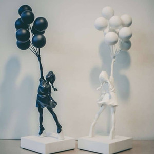 Luxurious Balloon Girl Statue Banksy Flying Balloons Girl Art Scultura Resin Craft Decorazione domestica Decorazione di Natale Regalo di Natale 57cm