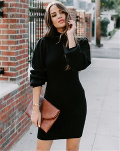 Womens Turtleneck Knitted Dresses Solid Color Slim Long Sleeve Sexy Dress for Women Thick Winter Femme Clothes