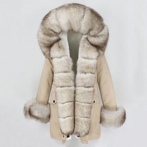 OFTBUY Moda Chaqueta de invierno Mujeres Real Piel Abrigo Natural Real Fox Cuello de piel suelta Largas Parkas Gran Piel Outerwear Detachable 200929